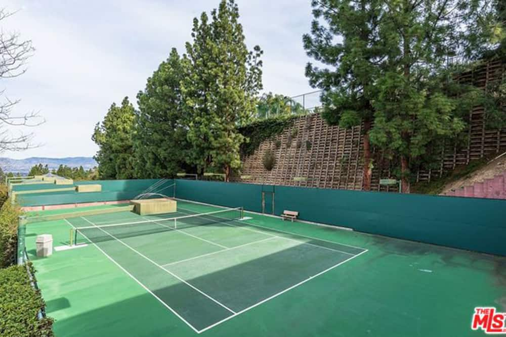 Kendall Jenner's sprawling estate includes a tennis court among its outdoor features.