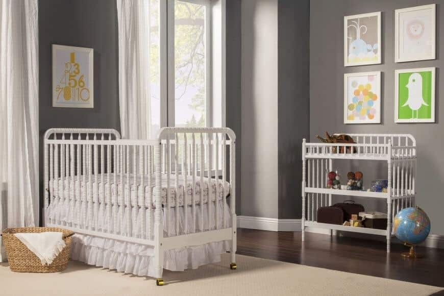 Gray gender neutral baby nursery room