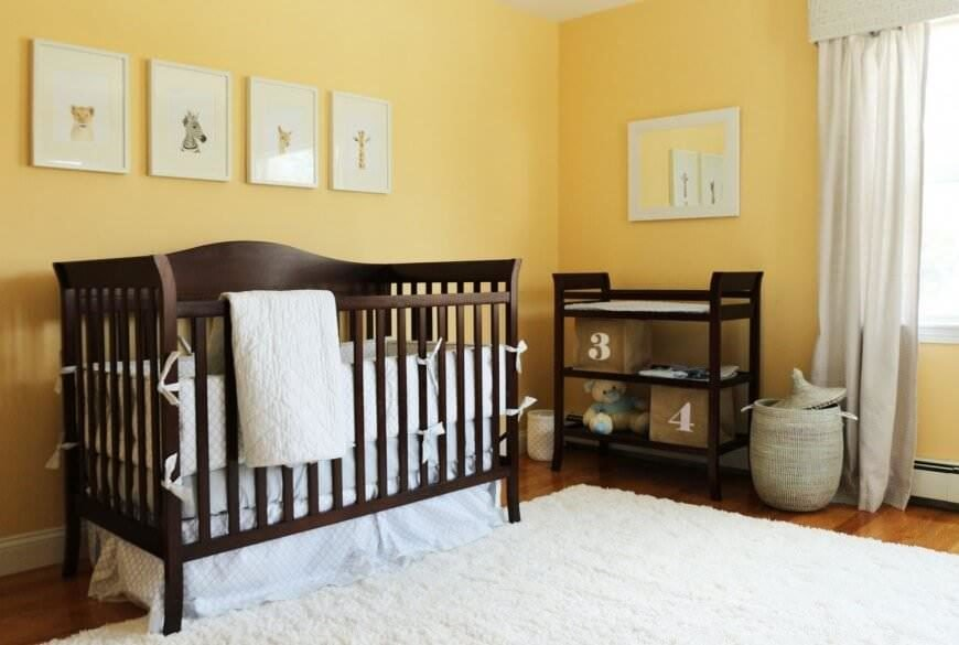 Yellow Nursery With Dark Wood Accents