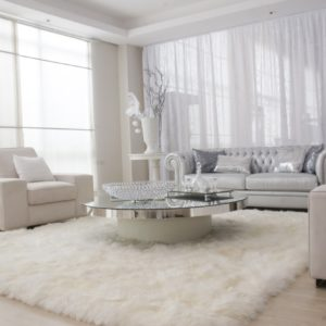 Modern Scandinavian formal living room with a fluffy rug and nice sofa set perfect with the white walls and curtain.