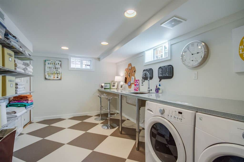 Contemporary Laundry Room With Long Counter And Recessed Ceiling LightsZillow Digs