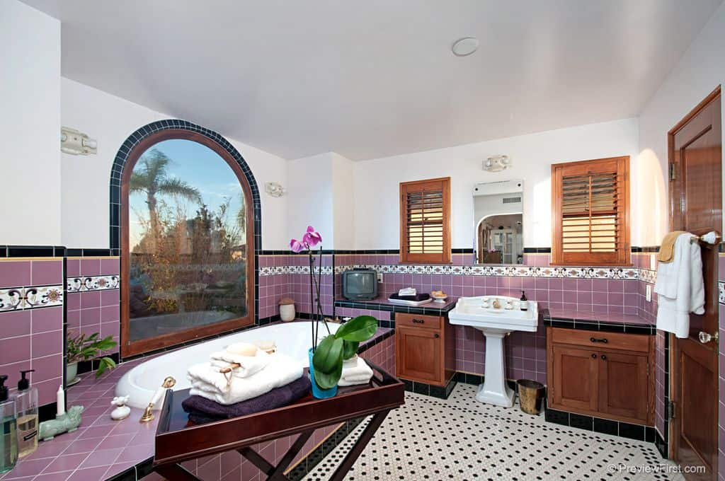 Primary bathroom with purple wall tiles, a drop-in tub by the window, and a pedestal sink.