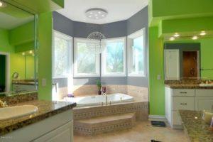 eclectic green master bathroom