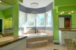 eclectic green master bathroom