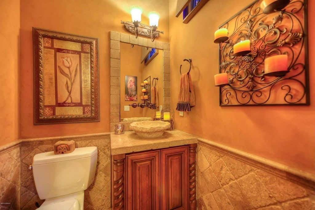 orange bathroom. Mediterranean orange master bathroom with elegant candle light wall holder  and stone made sink Source Zillow Digs 20 Orange Master Bathroom Ideas for 2018