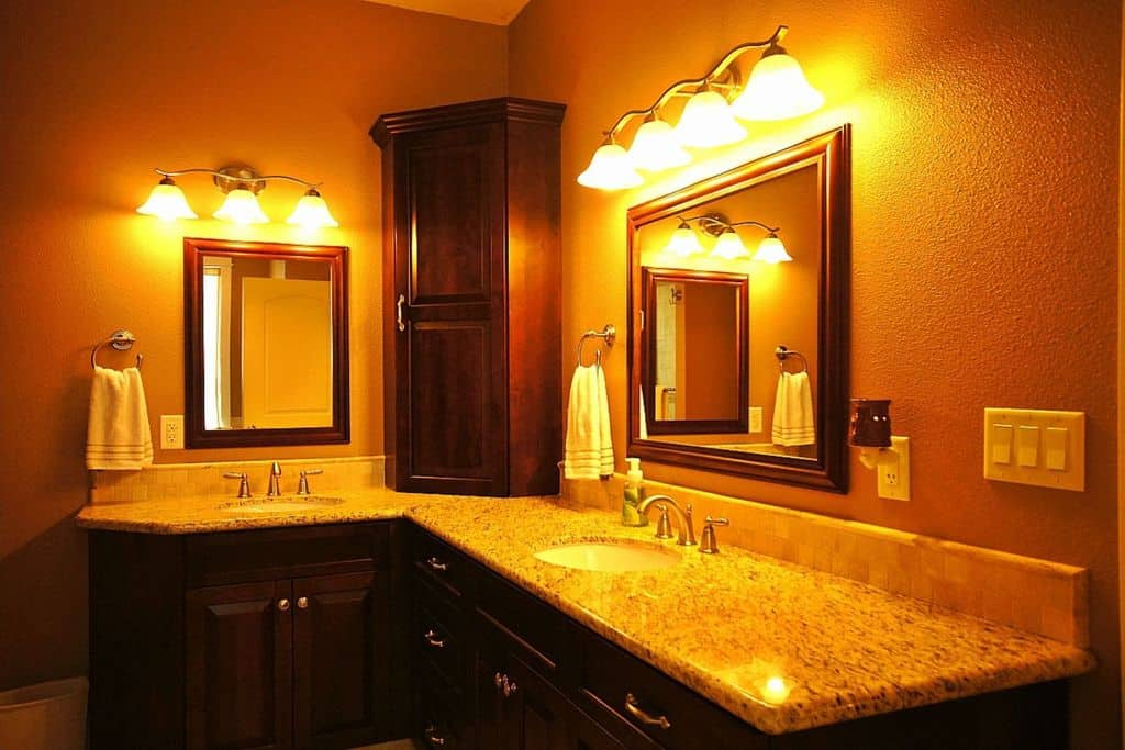 master bathroom double sink vanity. Craftsman orange master bathroom with warm lighting and built in cabinet Source  Zillow Digs 200 Master Bathrooms Two Sink for 2017