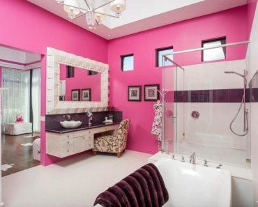 eclectic pink master bathroom