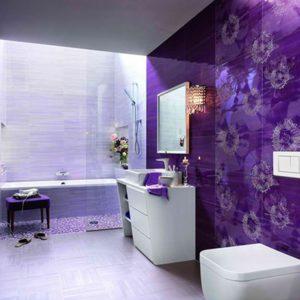 eclectic purple primary bathroom