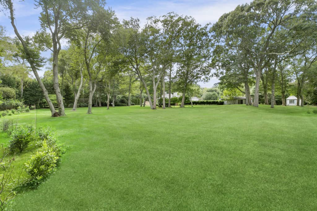 A view outside Rachael Ray's mansion's breezy and bright green gardens, tall trees and immense lawns.