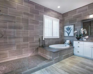 contemporary transitional master bathroom