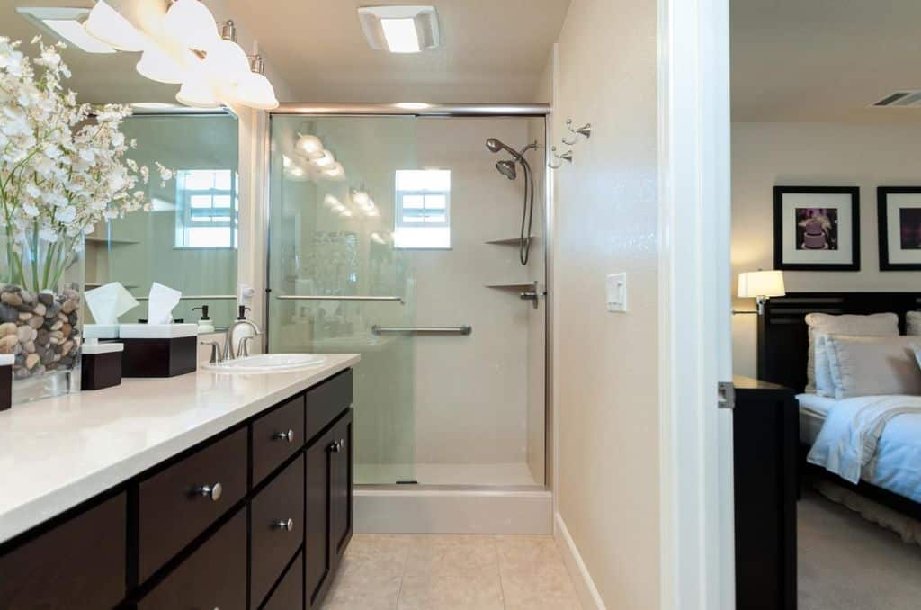 classic transitional primary bathroom