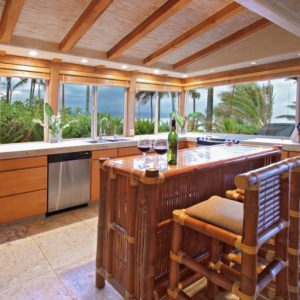 Tropical kitchen with a bamboo breakfast nook