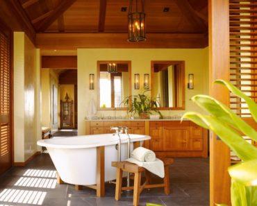 traditional yellow master bathroom