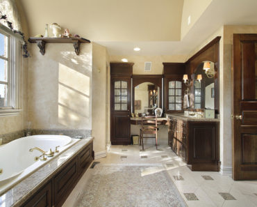 Luxury master bathroom with custom woodwork