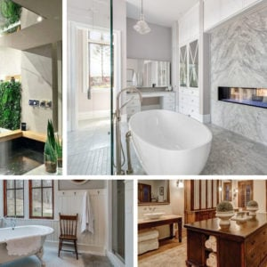 Collage of different types of primary bathroom styles