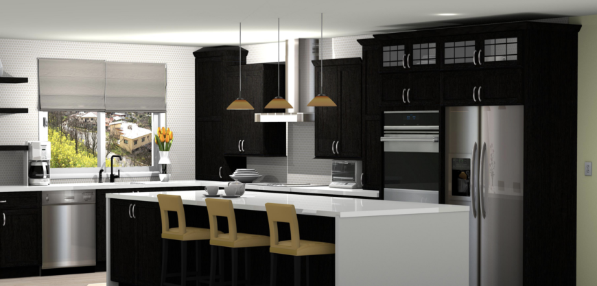 Rendering of modern kitchen design using ProKitchen design software.
