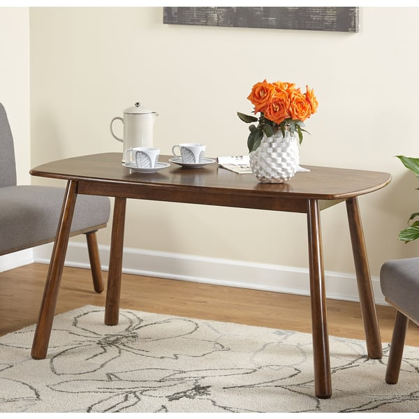 Simple living playmate walnut rubberwood dining table.