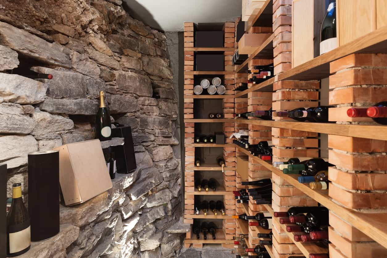 Small wine cellar in basement of home