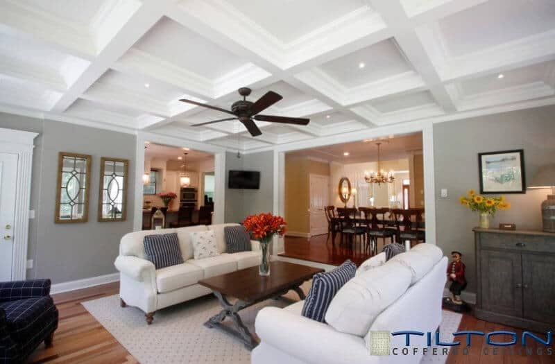 A More Contemporary Coffered Ceiling. The Ceiling Is Installed Around  Existing Lights And The Ceiling Fan. In This White And Gray Living Room, ... Part 47