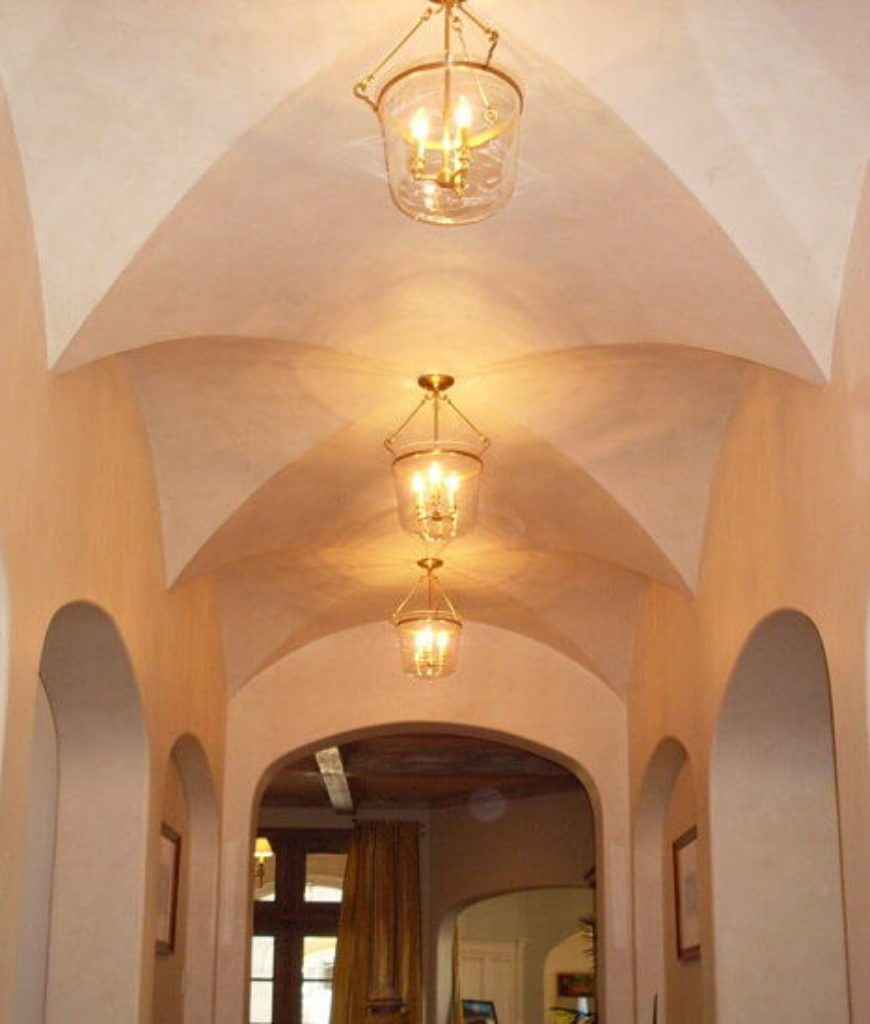 Narrow, small groin vaults add just enough drama and style to this hallway without needing too much space.