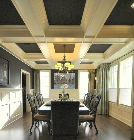 The sunken panels of this coffered ceiling are much deeper than most custom ceilings, for an added dramatic effect.