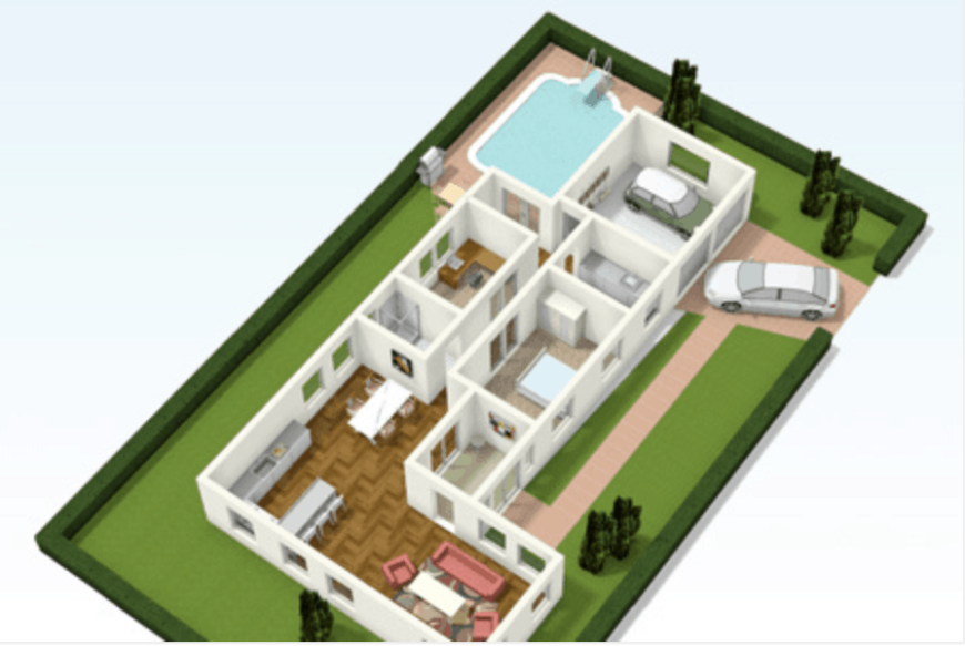 Design example of entire home floor plan by home planner software.