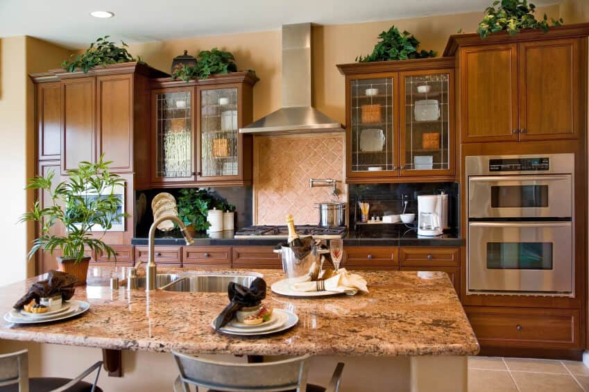 Kitchen with brown recessed panel cabinetry, stainless steel appliances, island breakfast bar and indoor plants.