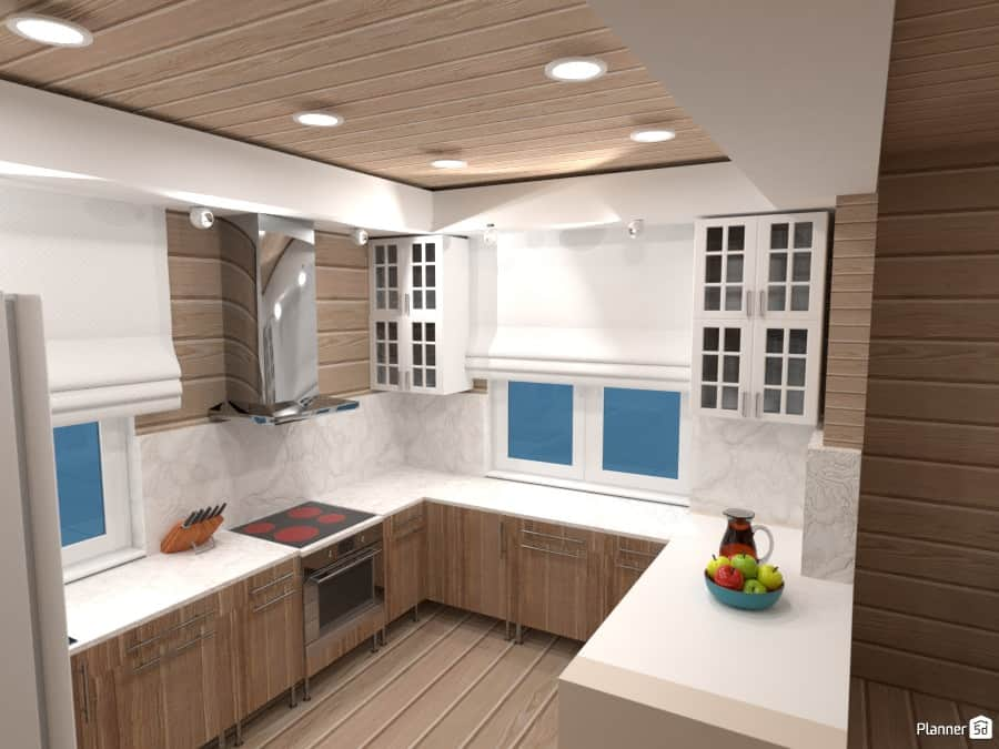 Example Of A Kitchen Designed By Planner5D Which Is Free 3D Kitchen Design  Software.