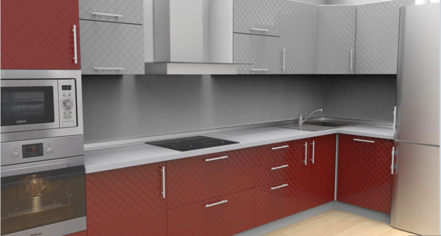 Example rendering of red kitchen design using Prodboard