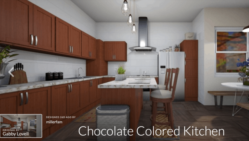 Example of a kitchen design with Roomstyler kitchen design software.