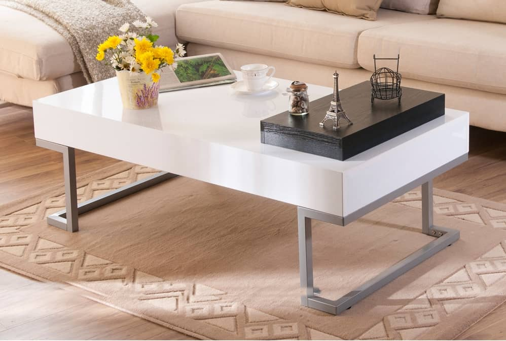 Furniture of America Cassie coffee table in glossy white finish with serving tray.