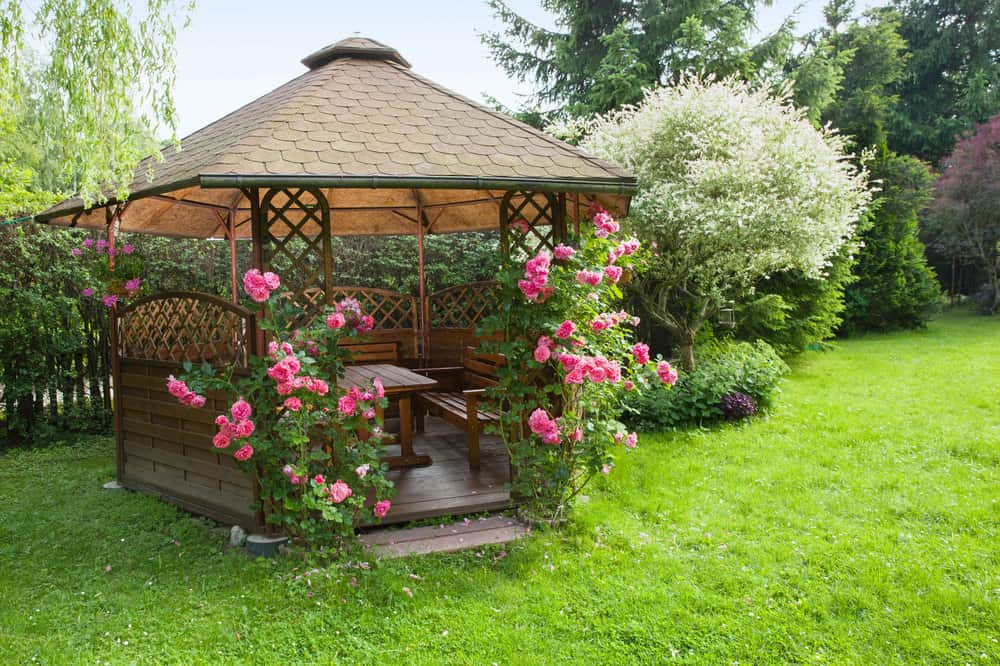 Wood gazebo in the backyard