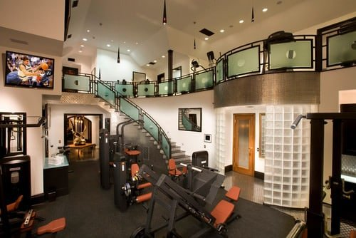 With a big enough space, you can create a two storey gym. This helps to divide up the space according to the workout. Make sure to add a giant TV as well since it can make the exercise more enjoyable and fun since you can use Netflix all you like.