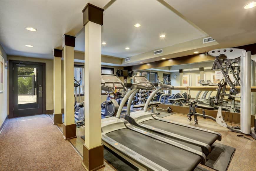 Large home gym featuring sophisticated carpet flooring and tray ceiling lighted by recessed lights.