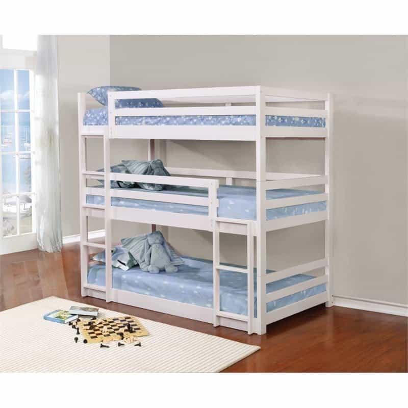 White triple decker twin bunk bed.