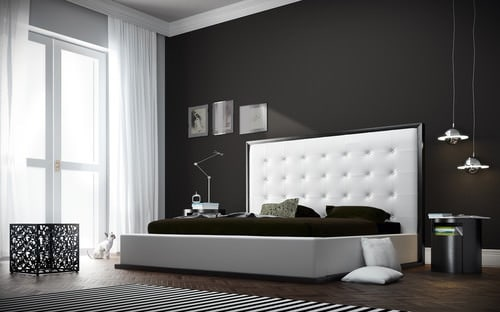 Modern Black Master Bedroom With Contemporary Tufted Headboard, Pendant  Lights And Dark Wood Flooring.Photo By Viesso   Search Bedroom Pictures