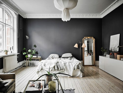 Large Scandinavian Master Bedroom With Cove Ceiling Black Walls And Light Wood Flooring