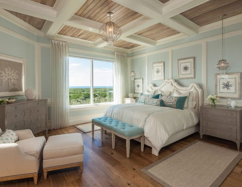 Beach Style Master Bedroom With Coffered Ceiling Pendant Lights Blue Walls And White Trims