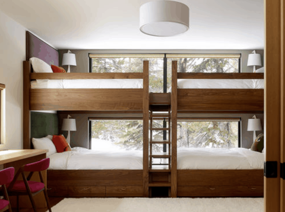 Custom built double bunk bed system.