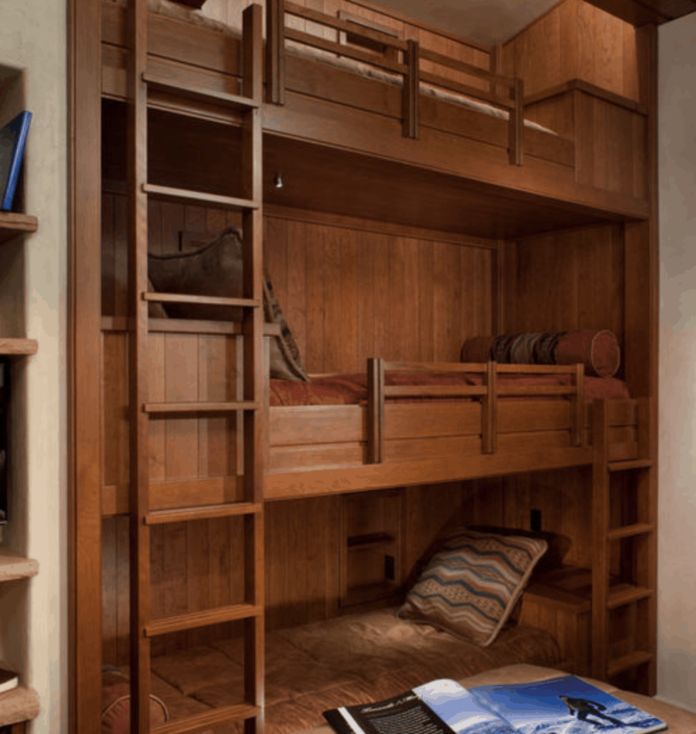Gorgeous custom built triple decker bunk bed.