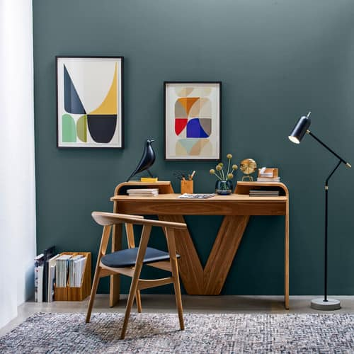 Attractive Tiny Midcentury Home Office With Floor Lamp And Green Accent Wall Featuring  Framed Artworks In Asymmetrical