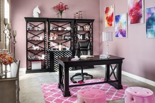 Transitional Home Office With Pink Walls Freestanding Shelves And Carpet Flooring A Rug Photo By Room Resolutions Search Pictures