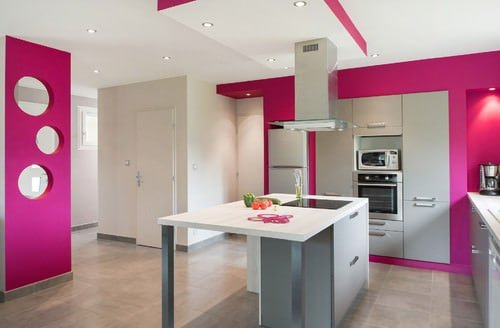Contemporary Pink Kitchen With Center Table