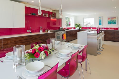Modern Pink Kitchen With Rectangular Dining Table