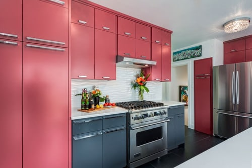 Modern Pink Kitchen With Oven Tiled Floor And Cabinets