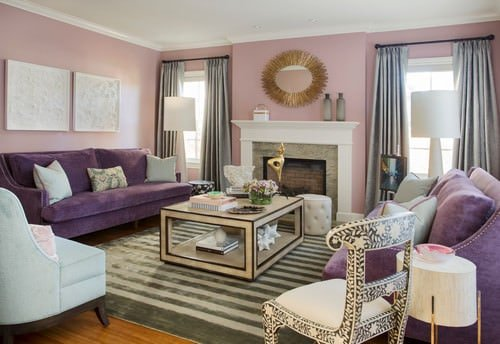 Mid Sized Transitional Formal Living Room With Pink Walls, A Standard  Fireplace And Hardwood Flooring With A Rug.Photo By Peruri Design Company    Search ...