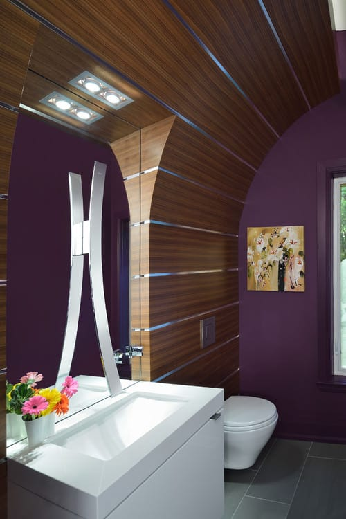 Purple Contemporary medium-sized powder room with wall-mount toilet and single undermount sink.