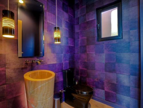 Purple Contemporary powder room with pendant lighting and a pedestal sink.