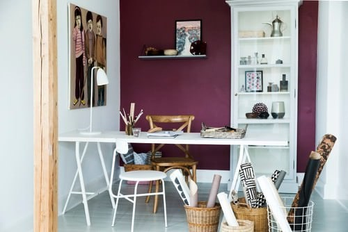 home office design inspiration. Transitional Home Office With Purple Accent Wall, Painted Wood Floor And A Freestanding Desk.Photo By Lightsy - Look For Design Inspiration