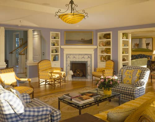 Beach Style Living Room With Purple Walls Built In Shelving And A Tile FireplacePhoto By Polhemus Savery DaSilva